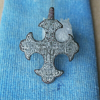 Ancient Byzantine Silvered Bronze Cross - Religious Artifact -Wearable Very Rare