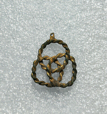 Ancient Viking Twisted Spiral Gold plated Bronze pendant AMULET GREAT SAVE RARE