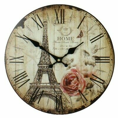 """Distressed Vintage Style Round Wall Clock """"Home Sweet Home"""" Eiffel Tower"""