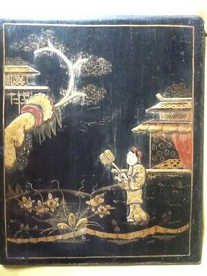 """Antique C19th Chinoiserie Black Lacquer Panel Gilded Figures Pagodas 12x10"""""""
