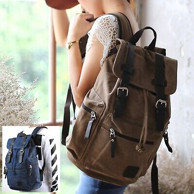 Brown Blue RETRO CANVAS LEATHER BACKPACK RUCKSACK BAG School Uni Student S260