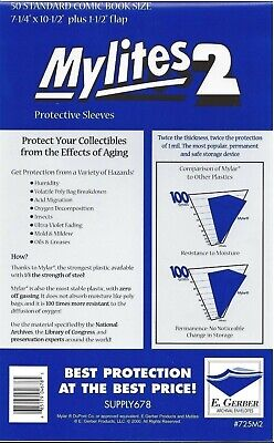 1 pack of 50 x Mylites2, Standard (Silver Age) Comic Bags, Mylar, Protection