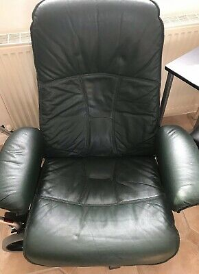 Vintage Unico Danish Recliner Swivel Leather Chair - Dark Green