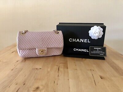 Authentic Chanel Limited Edition Light Pink Crinkled Chevron Flap Bag