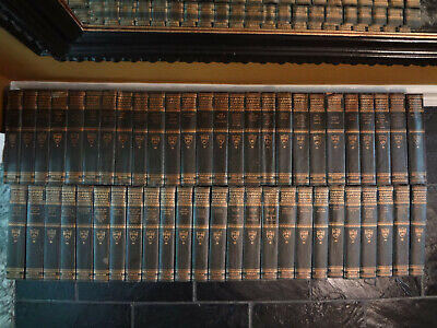 50 VOL ANTIQUE SET 1900s HARVARD CLASSICS NOVELS DECOR BOOKS PF COLLIER 6' LONG
