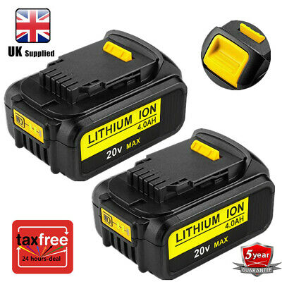 2x For 18V Dewalt 4.0Ah BATTERY DCB184 N394624 DCB182 DCB200 Lithim XR li-ion UK