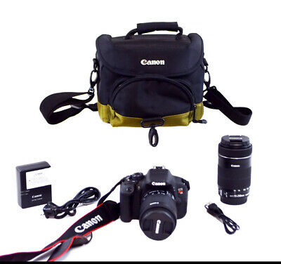 Canon EOS Rebel T5i DSLR Camera w/55-250mm & 18-55mm IS Lens Bundle (0214)