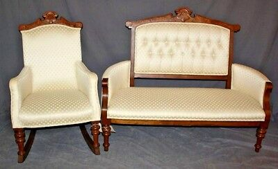American Victorian Eastlake Parlor Set - Settee and Rocking Chair