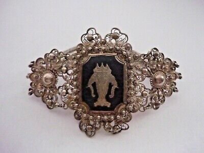 Vintage Sterling Silver Siam Wide Bracelet - LARGE ORNATE  FILIGREE NIELLO