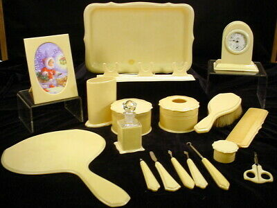 Vintage Lot of 18 Pcs French Style Celluloid Dresser Manicure & Clock Set
