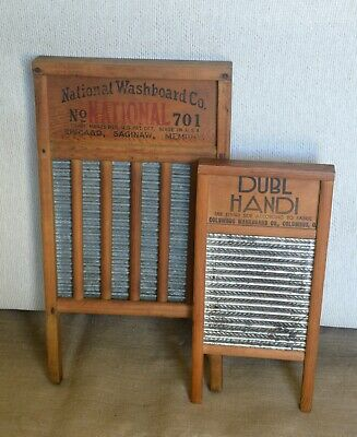 Set of (2) Vintage Washboards, National Co. # 701, and Columbus Co. Dubl Handi