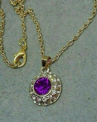 Lovely gold plated NECKLACE with PURPLE and CLEAR CRYSTAL pendant  -  20 INCH
