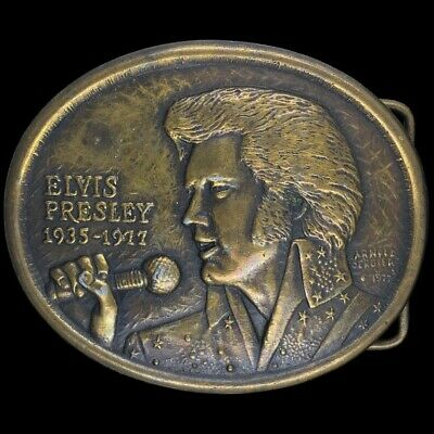 Vtg Elvis Presley Memorial 1935 -1977 Rock Roll King Fan Music 70s Belt Buckle