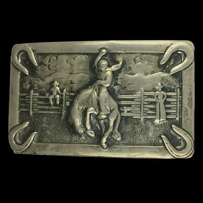 Vtg Antique Cowboy Bucking Bronco Horse Rodeo Western Silver Tone Belt Buckle