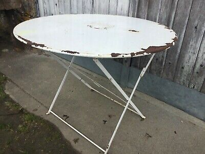 Vintage Antique French Folding White Metal Garden Table