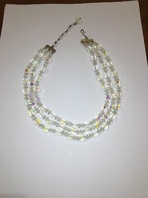 Vintage Lisner Triple Strand Aurora Borealis Glass Crystal Bead Necklace