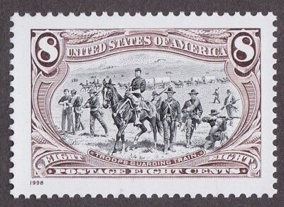 TROOPS GUARDING TRAIN 1998 RE-ISSUE of 1898 TRANS-MISSISSIPPI STAMP HORSE WAGON