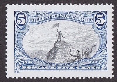 FREEMONT ON THE ROCKY MOUNTAINS FLAG 1998 RE-ISSUE of 1898 STAMP DESIGNS 5 CENT