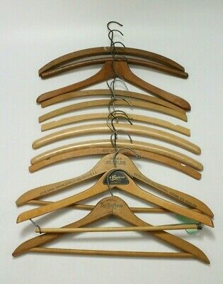 VTG Mixed Lot Of 12 Wooden Clothing Advertising Coat Pants Clothes Hangers EUC