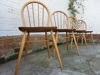 vintage retro mid century Ercol windsor hoop back dining chairs 400 4a RESTORED
