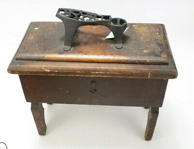 OOAK Vintage Wooden Shoe Shine Box Stand W/ Cast Iron Foot Rest & Carved Image!!