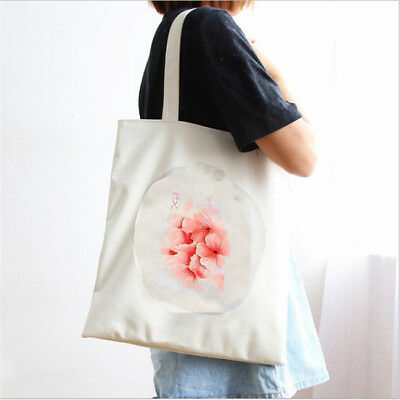 Women Fashion Casual Canvas Cherry Blossom Tote Shopping Shoulder Bag Handbag WE
