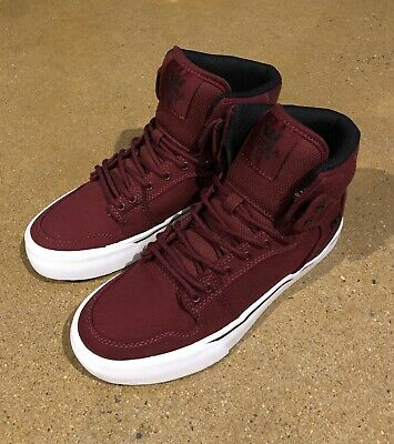 25539b116cb Supra Kids Vaider Size 4 US Youth Burgundy White BMX DC Skate Shoes Sneakers