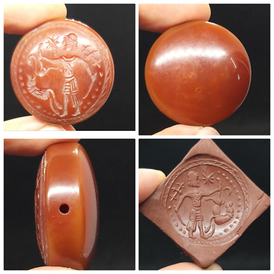 Wonderfull Carnlien Agte Round King On Hunting Postion Intaglio Stamp Bead