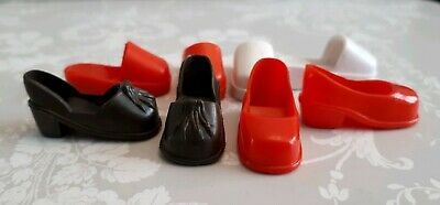 Sindy Pedigree Doll Vintage court Shoes & Red White Pairs Accessories