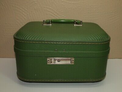 Vintage Green TRAIN Cosmetic Makeup CASE w/ Replaced DIY Lining