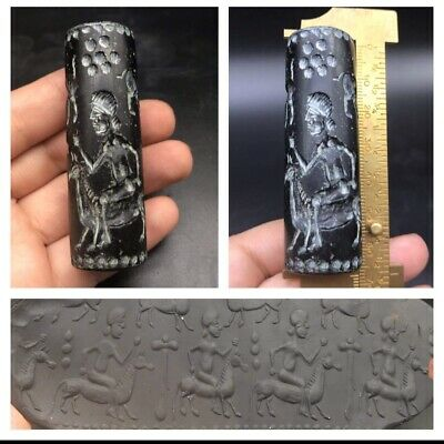 Black Nephrite Stone Man Riding Donkey Old Intaglio Clyinder Seal Bead