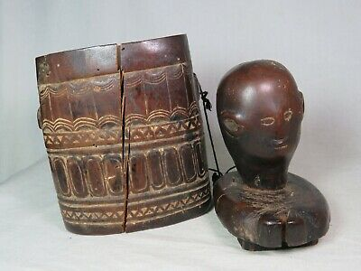 Antique Tribal Nyamwezi figural lidded wooden Container Tanzania