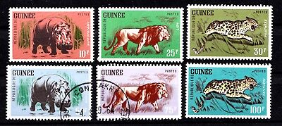Guinee 1962 Serie Animaux Sauvages Yt 105/110 4 T Neufs+2 Obliteres