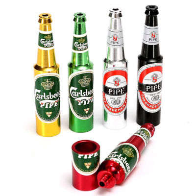 Beer Bottle Pipe Smoking Tobacco Herb Metal Aluminum Portable Small Pocket-Size