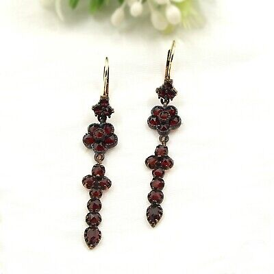 Vintage slim dangling garnet earrings w/14ct gold wires // ГРАНАТ