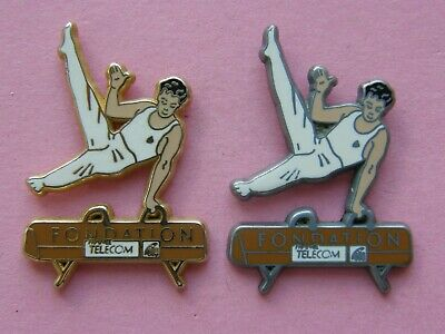 rare lot de 2 pin's gymnastique france telecom signé ARTHUS BERTRAND PARIS