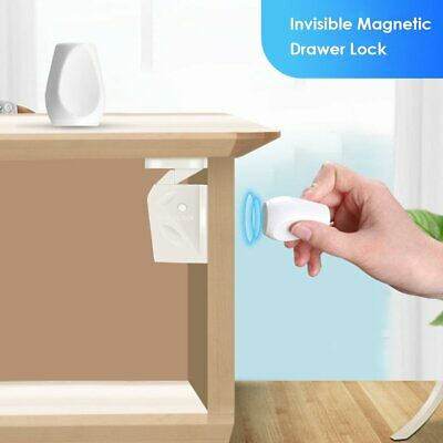 4pcs Invisible Baby Safety Magnetic Cabinet Lock Child Proof Cupboards Drawers