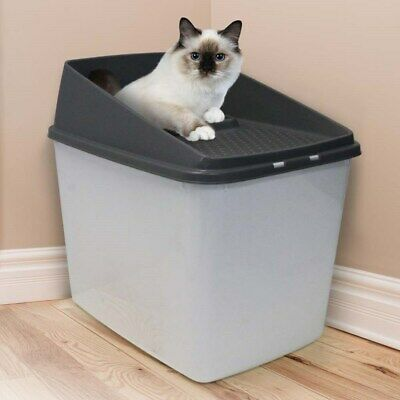 Top Entry Cat Litter Box All For Paws No Mess Large Enclosed Covered Kitty Tray