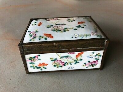 Antique CHINESE CHINA Porcelain Box w/ Lid COPPER BRASS Floral Enamel Painted