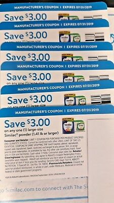 lot of 6 Similac Save $3 On 1 Large Size Similac Powder 1.4 LB  Or Larger Coupon
