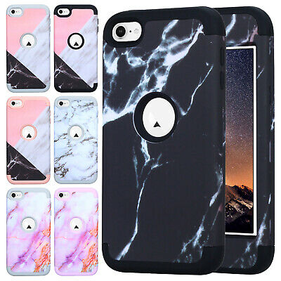 For iPod Touch 5th 6th Gen Case Marble Pattern Plastic Back Rubber Bumper Cover