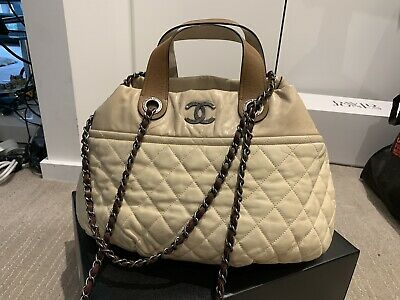 2aaafc81cebc4d 100% Authentic Chanel Leather Ivory Brown Shoulder In The Mix Shopping Bag  $4500
