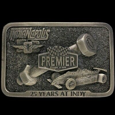 Vtg 80s Nos 1986 Indianapolis 500 25 Years At Indy Racing Belt Buckle