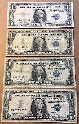 (4) Silver Certificates! 1935 F & 1957 B $1 Bills One Dollar