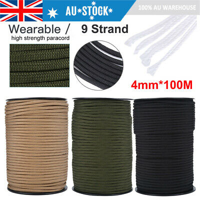 100M 550 Paracord Parachute Cord Lanyard Mil Spec Type III 9 Strand Core 328FT