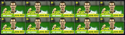 Andy Murray Mens Tennis Singles 2016 Rio Olympics Gold Medal Vignette Stamps