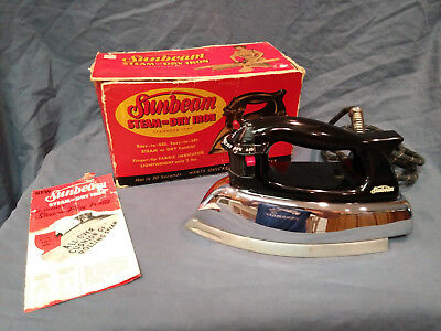 Mid-Century Sunbeam Steam or Dry Iron Model # S-4A  with Box, Papers