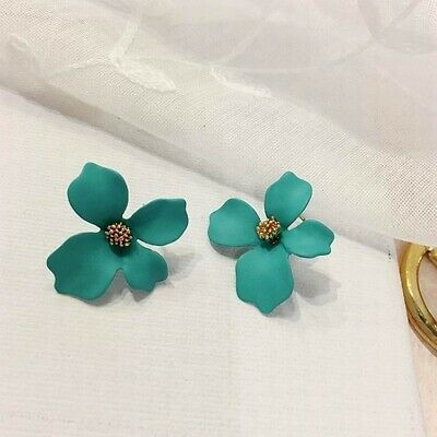Fashion Boho Painting Big Flowers Ear Stud Earrings Women Charm Jewelry Summer