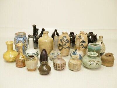 Lot of 22 Pic,Various Small Vases,Single cut,Old Ceramic,Antique,Cool Japan*E027