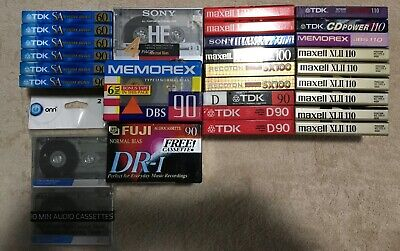 42 TDK Maxell Sony TDK 60 90 120 blank audio cassette tapes sealed lot